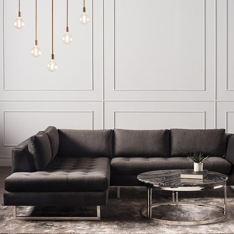 Janis Left Facing Sectional in Shadow Grey design by Nuevo