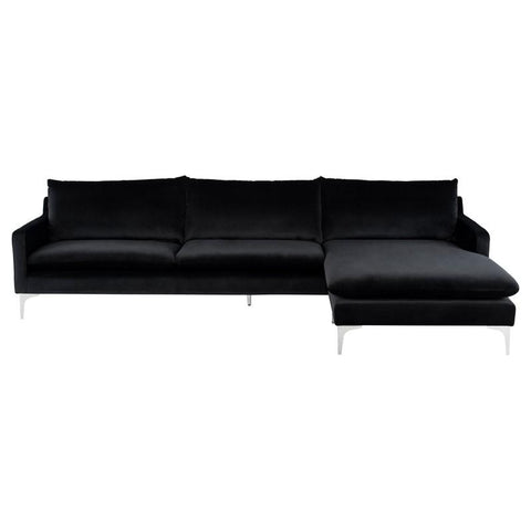 "117.3"" x 63"" x 32.3"" Anders Sectional with Black Velour Seat by Nuevo"