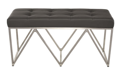 Celia Bench in Grey & Brushed Steel design by Nuevo