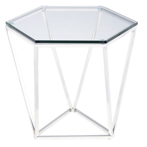 Louisa Side Table in Polished Stainless Steel design by Nuevo