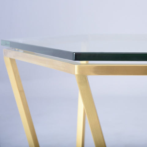 Louisa Side Table in Brushed Gold design by Nuevo