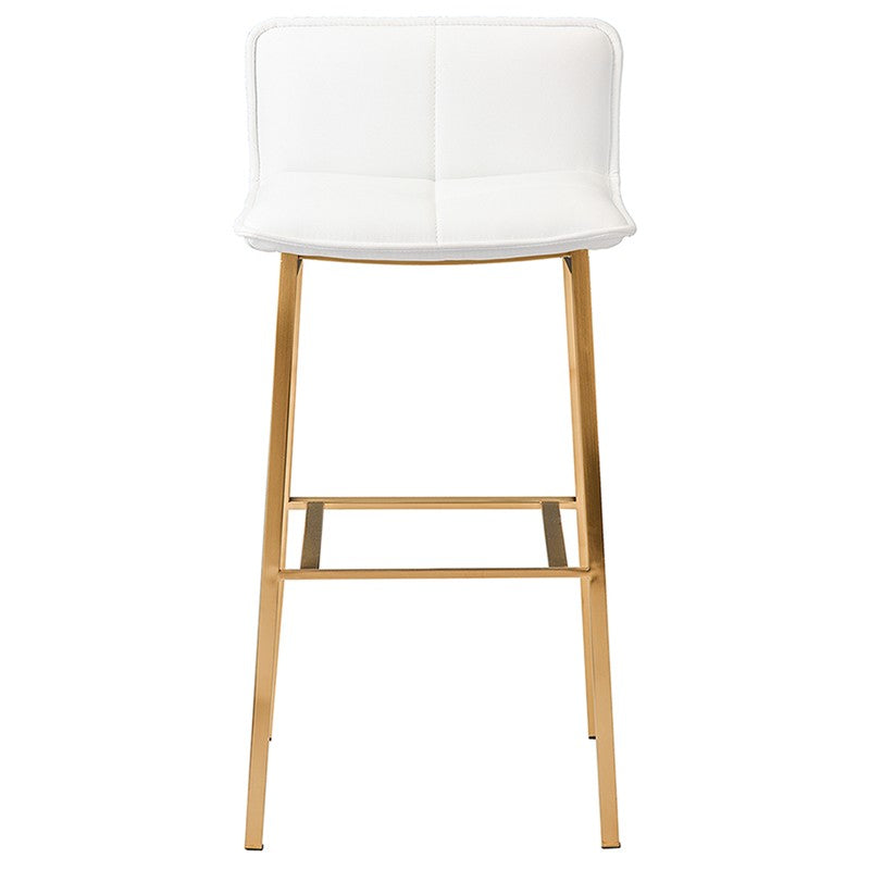 Sabrina Counter Stool in White w/ Brushed Gold Legs design by Nuevo