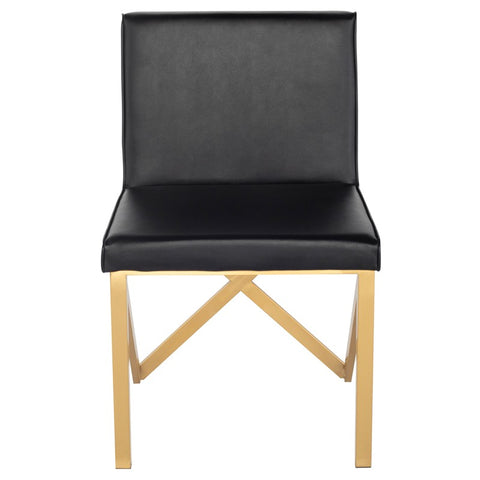 Talbot Dining Chair in Black w/ Brushed Gold Legs design by Nuevo