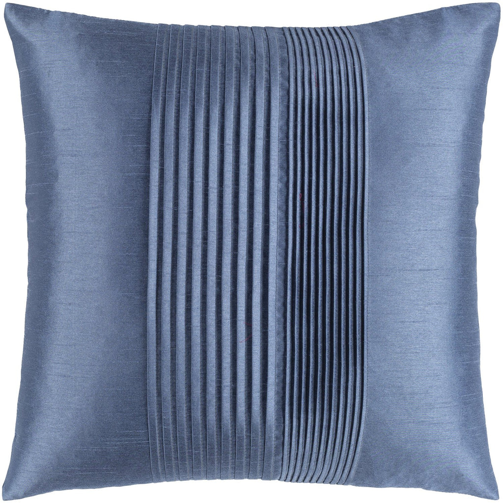 Solid Pleated HH-133 Woven Pillow in Denim in Denim by Surya