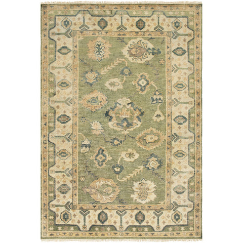 Hillcrest HIL-9017 Hand Knotted Rug in Dark Green & Bright Yellow by Surya