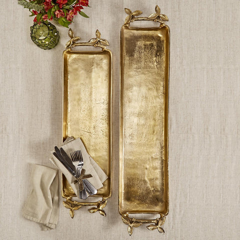 Set of 2 Gold Decorative Trays with Leaf Detail Handles