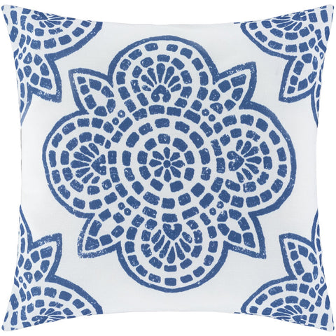 Hemma HM-001 Woven Pillow in Navy & Ivory by Surya