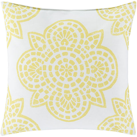 Hemma HM-003 Woven Pillow in Bright Yellow & Ivory by Surya