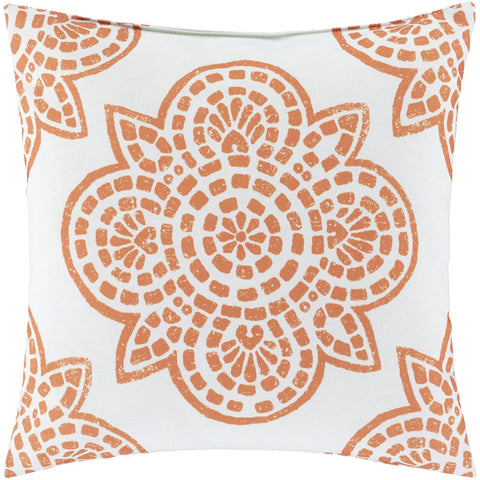 Hemma HM-004 Woven Pillow in Ivory & Burnt Orange by Surya