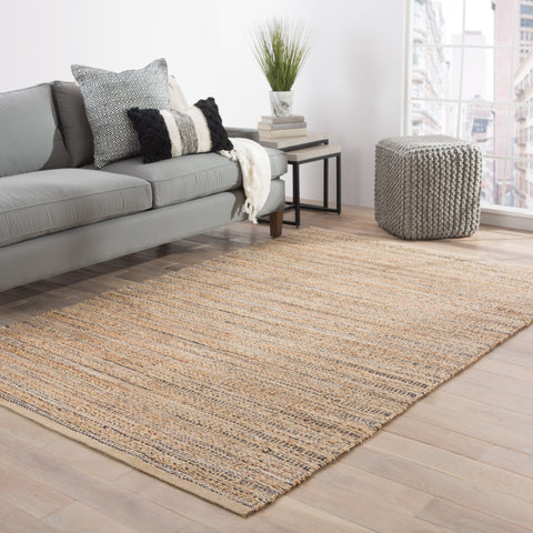 Canterbury Natural Solid Tan & Black Area Rug