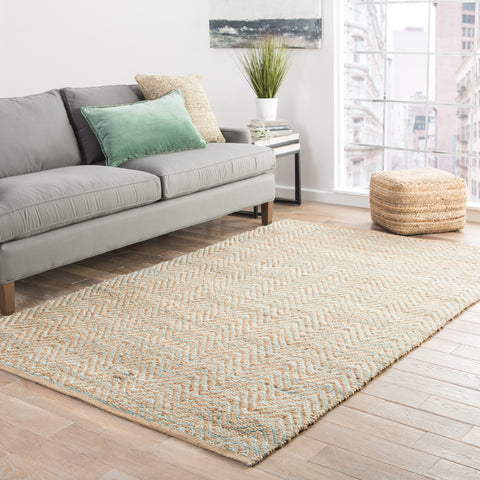 Reap Chevron Rug in Candied Ginger & Frosty Green design by Jaipur