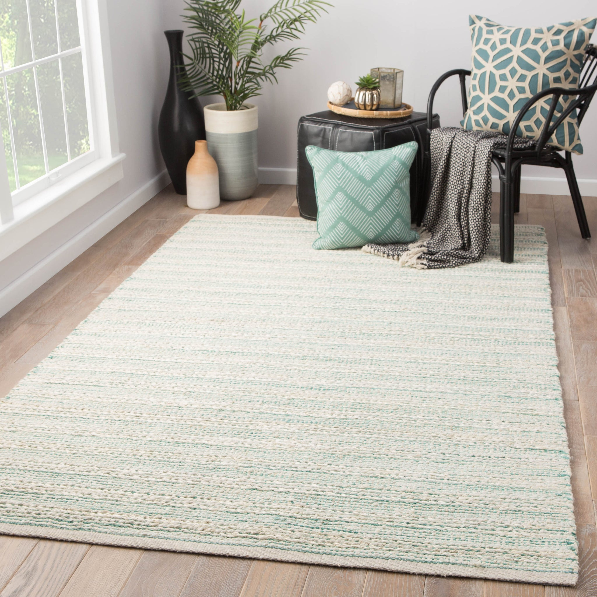 Picture of: Canterbury Natural Stripe White Turquoise Area Rug Burke Decor