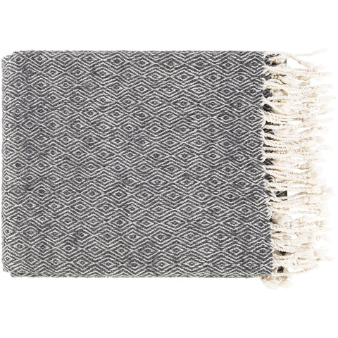 Hamlet HME-1001 Hand Woven Throw in Black & Beige by Surya