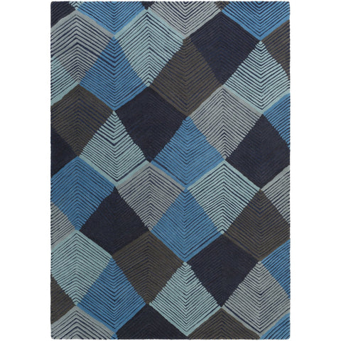 Harlequin HQL-8042 Hand Tufted Rug in Sky Blue & Dark Brown by Surya