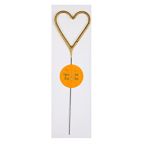 Gold Sparkler Heart Candle