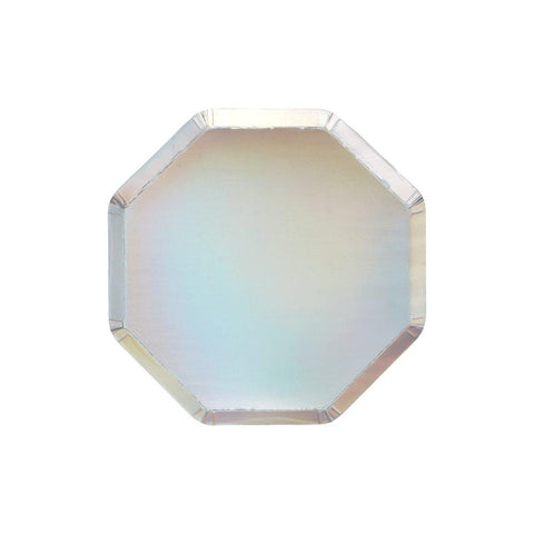 Silver Holographic Cocktail Plates