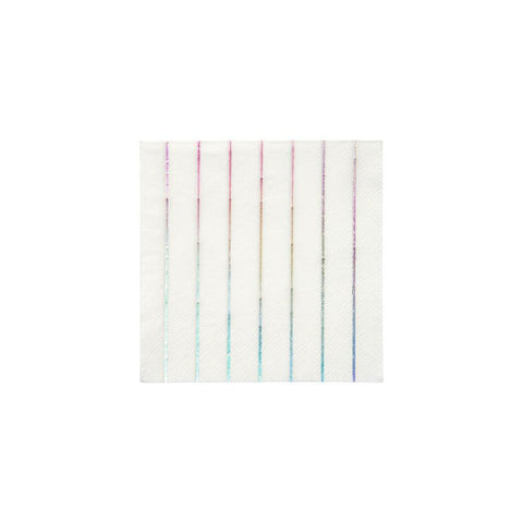 Silver Holographic Stripe Small Napkins