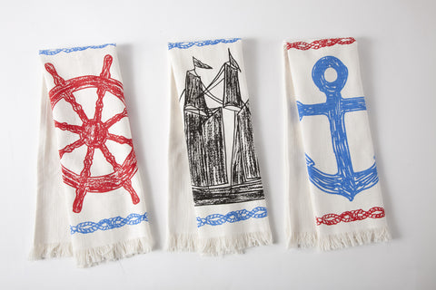 Maritime Sketch Hand Towels Set of 3 design by Thomas Paul