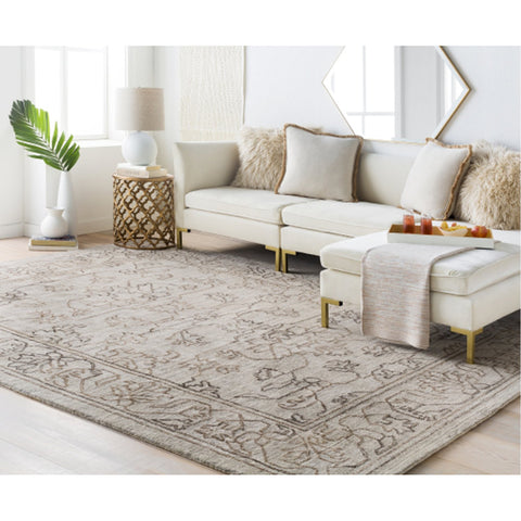 Hightower HTW-3003 Hand Knotted Rug in Light Gray & Camel by Surya