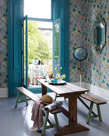 Habanera Wallpaper in Ivory, Jade, and Neon by Matthew Williamson for Osborne & Little