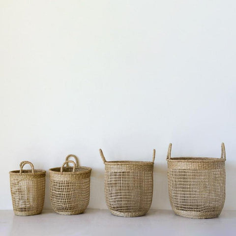Hand Woven Seagrass Baskets with Handles - Set of 4