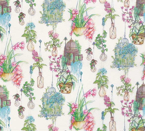 Hanging Gardens Fabric in Emerald and Fuchsia from the Enchanted Gardens Collection by Osborne & Little