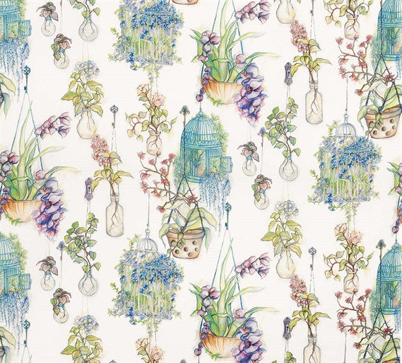 Hanging Gardens Fabric in Forest and Violet from the Enchanted Gardens Collection by Osborne & Little