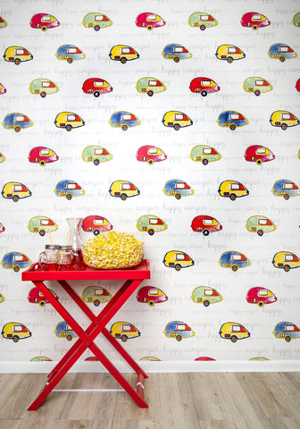 Happy Camper Wallpaper from the Tastemakers Collection design by Milton & King