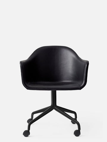 Harbour Chair w/ Swivel Base & Casters in Black Steel by Menu