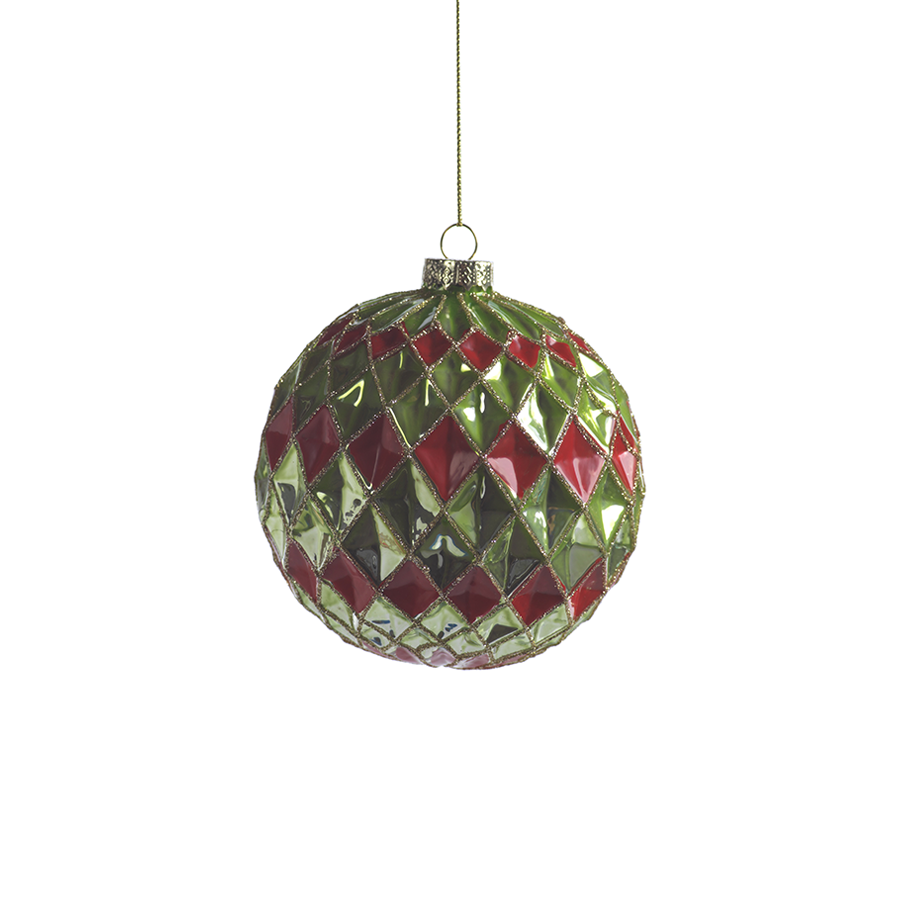 Harlequin Green and Red Christmas Ball Ornament