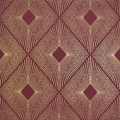 Harlowe Wallpaper in Red and Gold by Antonina Vella for York Wallcoverings