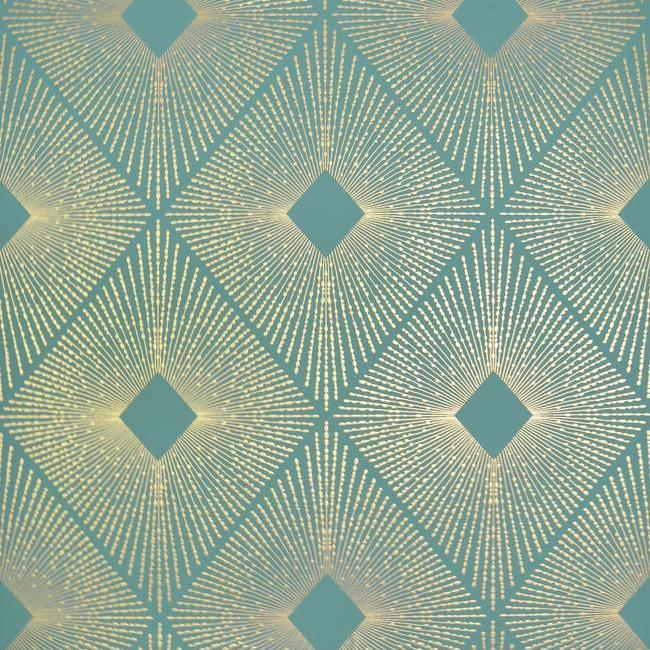 Sample Harlowe Wallpaper in Teal and Gold by Antonina Vella for York Wallcoverings