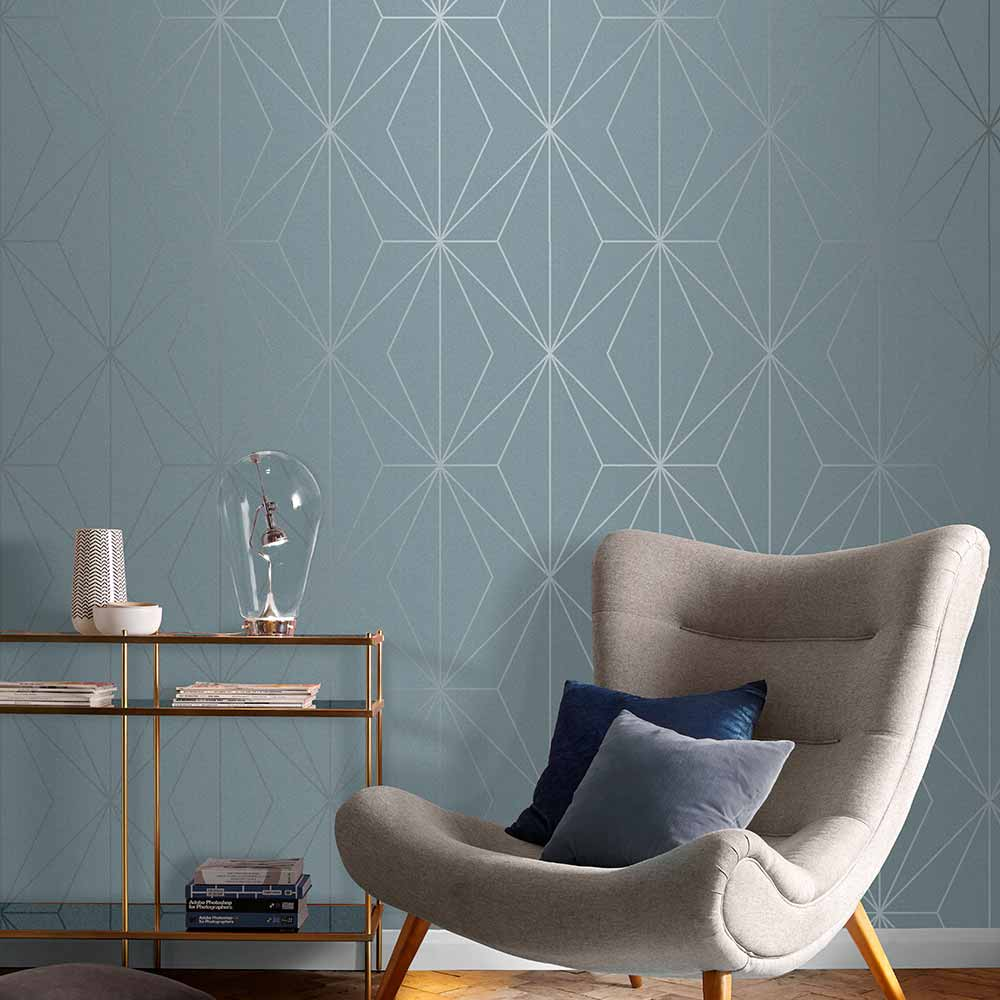 Harmony Wallpaper in Deep Sky from the Exclusives Collection by Graham & Brown