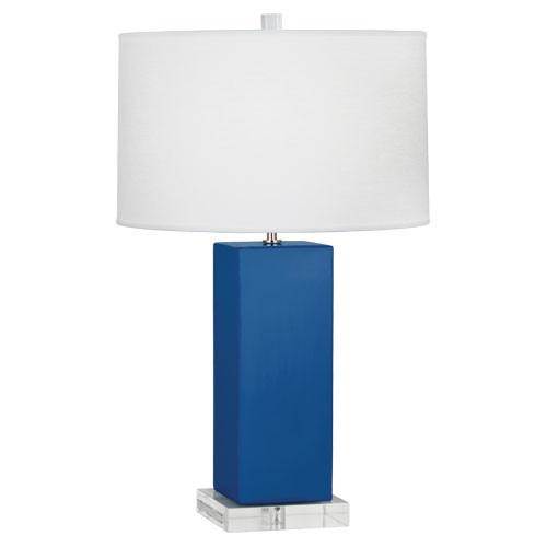 Harvey Table Lamp (Multiple Colors) with Oyster Linen Shade design by Robert Abbey
