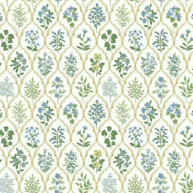 Hawthorne Wallpaper in Blue-Green from the Rifle Paper Co. Collection by York Wallcoverings
