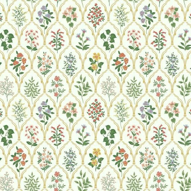 Sample Hawthorne Wallpaper in Cream from the Rifle Paper Co. Collection by York Wallcoverings