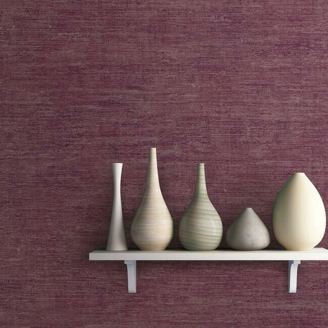 Heathered Wool Wallpaper in Berry by Antonina Vella for York Wallcoverings