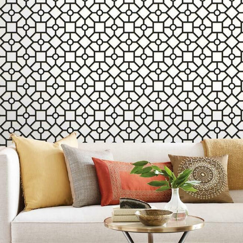 Hedgerow Trellis Peel & Stick Wallpaper in Black and Gold by York Wallcoverings