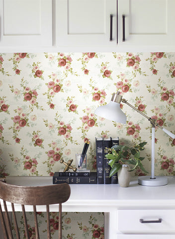 Heirloom Rose Wallpaper in Red and White from the Magnolia Home Collection by Joanna Gaines