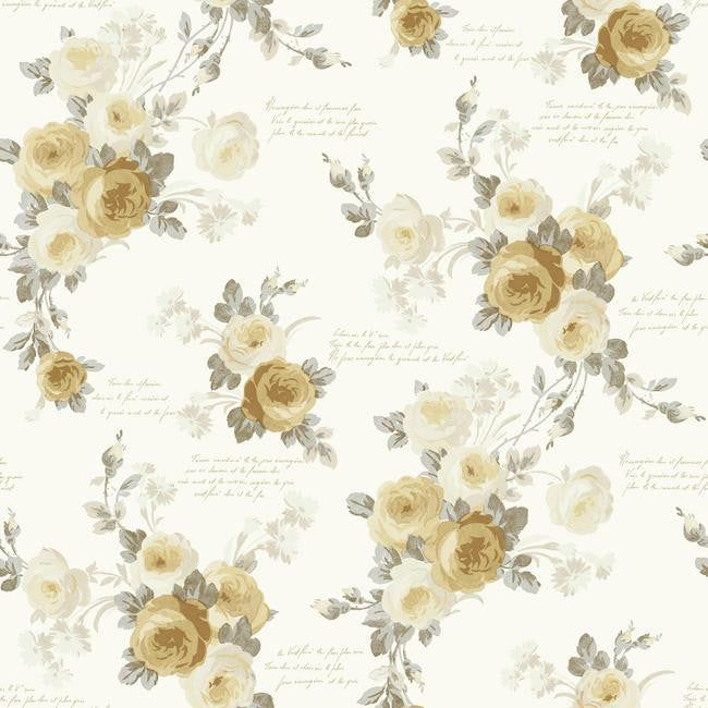 Heirloom Rose Wallpaper in Gold and Neutrals from the Magnolia Home Collection by Joanna Gaines