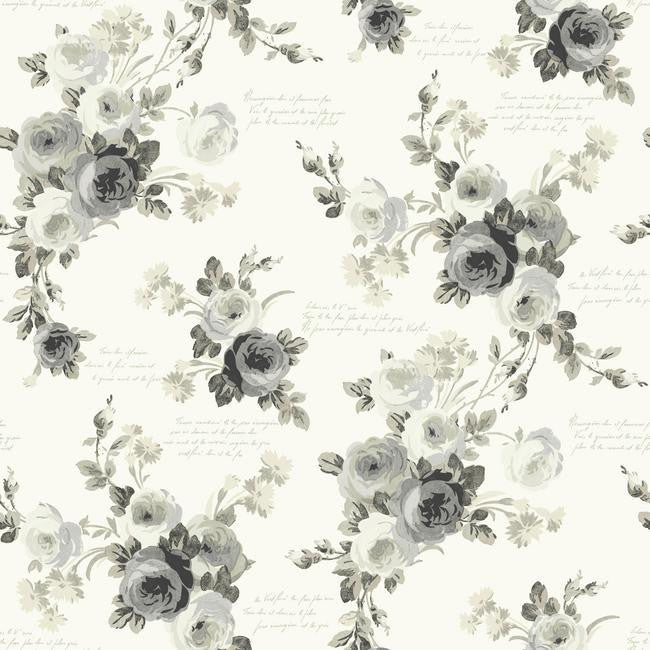 Heirloom Rose Wallpaper in Grey and Neutrals from the Magnolia Home Collection by Joanna Gaines