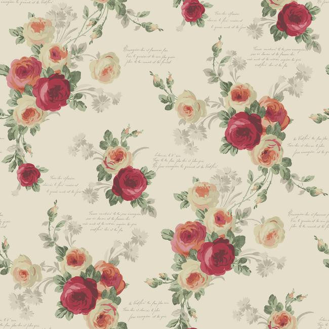 Heirloom Rose Wallpaper in Reds and Beige from the Magnolia Home Collection by Joanna Gaines