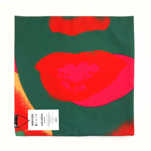 Andy Warhol Art Pillow in Red & Green design by Henzel Studio