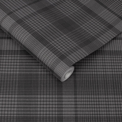 Heritage Plaid Wallpaper in Charcoal from the Exclusives Collection by Graham & Brown