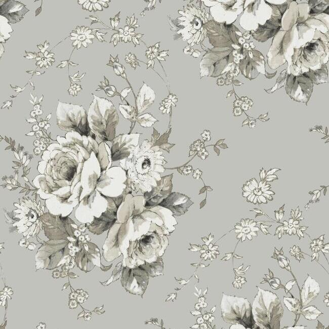 Heritage Rose Wallpaper in Taupe from the Simply Farmhouse Collection by York Wallcoverings