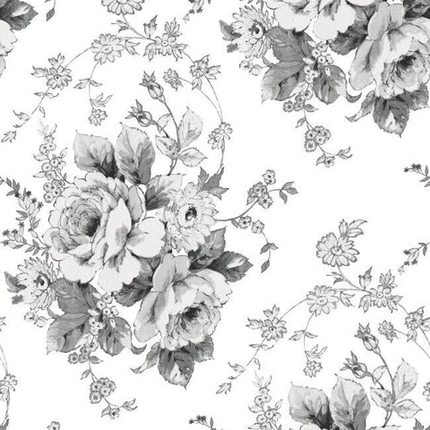 Heritage Rose Wallpaper in White and Black from the Simply Farmhouse Collection by York Wallcoverings