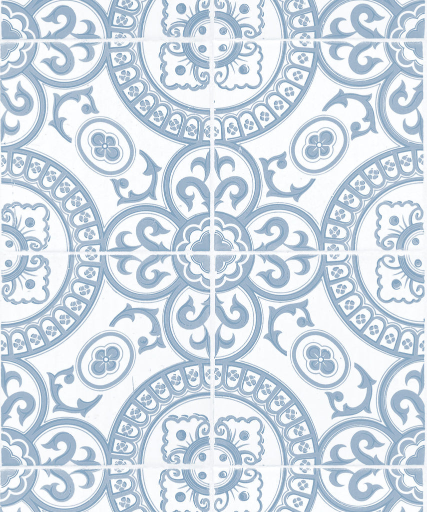 Heritage Tiles Wallpaper in Pale Blue from the Kemra Collection by Milton & King