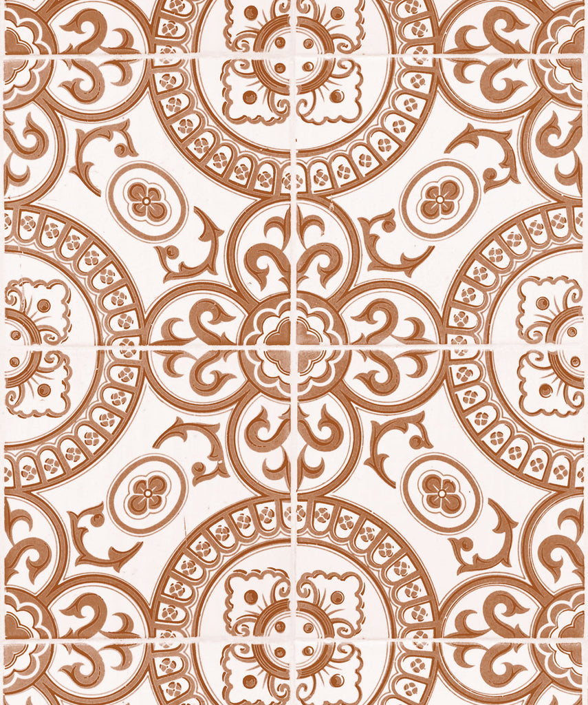 Sample Heritage Tiles Wallpaper in Terracotta from the Kemra Collection by Milton & King