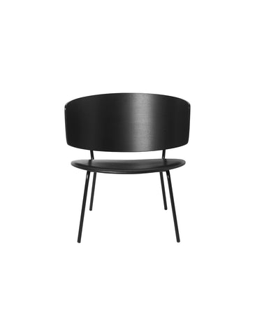 Herman Lounge Chair in Black & Black Leather by Ferm Living