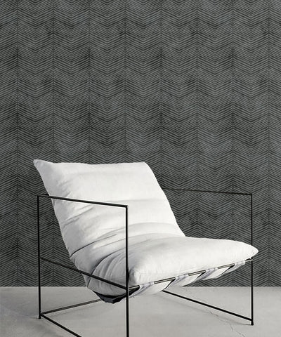 Herringbone Wallpaper in Charcoal by Bethany Linz for Milton & King